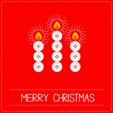 Merry Christmas candles button applique on red background Dash line Flat design Stock Photo