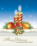 Merry Christmas with candles. Christmas 2018 with candles, balls and bells royalty free illustration