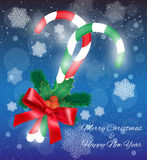 Merry Christmas candy with branches Royalty Free Stock Image