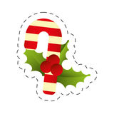 Merry christmas candy cane berries leaves image. Illustration eps 10 Royalty Free Stock Image
