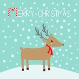 Merry christmas. Candy cane. Cute cartoon deer with horns, red scarf. Reindeeer head. Snowdrift. Blue winter snow background. Gree. Ting card Flat design. Vector Stock Photography