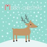 Merry christmas. Candy cane. Cute cartoon deer. Merry christmas. Candy cane. Cute cartoon deer with horns, red scarf. Reindeeer head. Snowdrift. Blue winter Stock Image