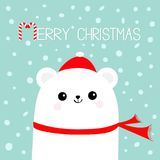 Merry Christmas Candy cane. Polar white bear cub head face wearing red Santa Claus hat scarf. Cute cartoon smiling baby character. Royalty Free Stock Image