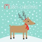 Merry christmas. Candy cane. Reindeeer head. Cute cartoon deer with horns, red Santa Claus hat, scarf. Snowdrift. Blue winter snow. Background. Greeting card Stock Photography