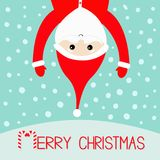 Merry Christmas. Candy cane. Santa Claus hanging upside down. Red hat, costume, big beard, hands. Cute cartoon kawaii funny charac. Ter with open hands. Blue Stock Photos