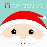 Merry Christmas. Candy cane. Santa Claus head face. Beard, moustaches, white eyebrows, red hat. Cute cartoon kawaii funny father c Royalty Free Stock Image