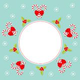 Merry Christmas Candy Cane stick with red bow. Holly berry icon. Mistletoe. Green leaf Three red berries. Snow flake. Round white Royalty Free Stock Image