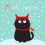 Merry Christmas candy cane text. Black Cat kitten head face looking up. Kitty sitting on snowdrift. Red hat, scarf. Cute funny car. Toon character. Flat design Stock Photography