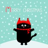 Merry Christmas candy cane text. Black Cat kitten. Red hat, scarf. Cute funny cartoon character on snowdrift. Flat design. Blue wi. Nter background with snow Stock Photo
