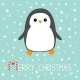 Merry Christmas Candy cane text. Kawaii Penguin bird. Cute cartoon baby character. Flat design Winter antarctica blue background w Royalty Free Stock Images