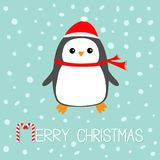 Merry Christmas Candy cane text. Kawaii Penguin bird. Red Santa Claus hat, scarf. Cute cartoon baby character. Flat design Winter Royalty Free Stock Photography