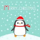 Merry Christmas Candy cane text. Kawaii Penguin bird on snowdrift. Red Santa Claus hat, scarf. Cute cartoon baby character. Flat d Royalty Free Stock Photography