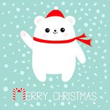 Merry Christmas Candy cane text. Polar white bear cub. Red Santa Claus hat and scarf. Cute cartoon baby character. Arctic animal. Royalty Free Stock Photography