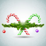 Merry Christmas candy with fir branches Stock Photo