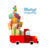 Merry Christmas. Car and lots of gift box. Truck  bunch of holid Royalty Free Stock Image