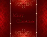 Merry christmas card. With damask background pattern Stock Photo