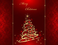 Merry christmas card. With highlighted beautiful christmas tree Stock Photography