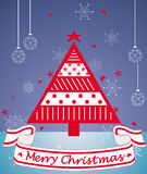 Merry Christmas card. Greeting card with abstract Christmas tree and winter background Royalty Free Stock Images