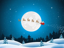 Merry Christmas Card. Illustration of santa driving the sleigh and his reindeer through the night Royalty Free Stock Photography