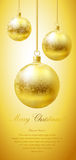 Merry Christmas card. Merry Christmas greeting card with golden flaring balls Royalty Free Stock Images