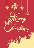 Merry Christmas Card. With red background Royalty Free Stock Images