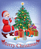Merry Christmas card. With Santa and Christmas tree. Contains transparent objects.Eps 10 Stock Photography