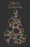 Merry Christmas Card. A bright colored christmas tree card made from off centered circles on a dark grey background Vector Illustration