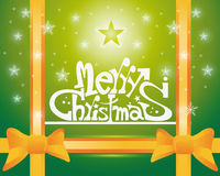 Merry Christmas card. Merry Christmas text on green background an two ornge bow Stock Photo