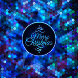 Merry Christmas card abstract blue geometric Stock Photos