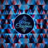 Merry Christmas card abstract blue geometric Royalty Free Stock Photos