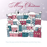 Merry Christmas card with abstract snowy village Stock Photos