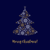 Merry Christmas card Abstract tree made of snowflakes Corporate identity Stock Photography