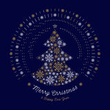 Merry Christmas card Abstract tree, Mono line sun bursts, Snowflakes Royalty Free Stock Photography