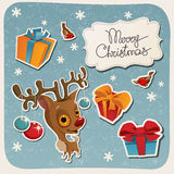Merry Christmas card with baby Deer Royalty Free Stock Images
