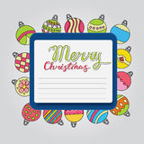 Merry Christmas card background design with decoration balls elements. Greeting card doodle Royalty Free Stock Photography