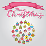 Merry Christmas card background design with decoration balls elements. Greeting card doodle Royalty Free Stock Images