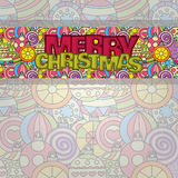 Merry Christmas card background design with decoration balls elements. Greeting card doodle Stock Images