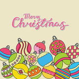 Merry Christmas card background design with decoration balls elements. Greeting card doodle Royalty Free Stock Photos