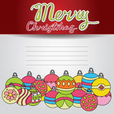 Merry Christmas card background design with decoration balls elements. Greeting card doodle Stock Photos