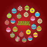 Merry Christmas card background design with decoration balls elements. Greeting card doodle Stock Photography