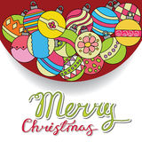 Merry Christmas card background design with decoration balls elements. Greeting card doodle Royalty Free Stock Photo