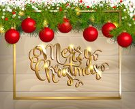 Merry Christmas  card. Merry Christmas  background with fir tree branch color bulbs for winter Merry Christmas holidays celebration illustration flyer and Royalty Free Stock Photo