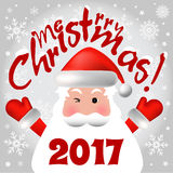 2017 Merry Christmas card or background with Santa Claus,. Snowflakes and stars Vector Illustration