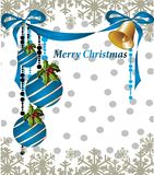 Merry Christmas card with balls. Ball bell snowflake decoration card background Stock Images