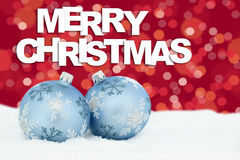 Free Merry Christmas Card Balls Baubles Stars Background Snow Decoration Royalty Free Stock Photos - 77161848