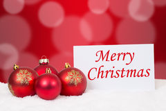 Merry Christmas card with balls for wishes Stock Photography