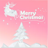 Merry christmas card banner sky cold pink color Royalty Free Stock Photo