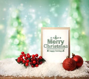 Merry Christmas card with baubles Stock Photo