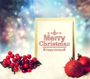 Merry Christmas card with baubles Stock Photography