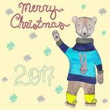 Merry christmas 2017 card with a bear skating in clothing. Hand drawn illustration. Buy local, Locally Grown, Eco farm. Stamps, badges, labels for farmers Stock Photos